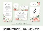 Stock vector wedding menu information label table number and place card design with elegant lavender pink 1026392545