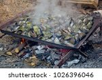 seafood barbecue  mussels  | Shutterstock . vector #1026396046
