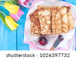 homemade traditional pancakes... | Shutterstock . vector #1026397732