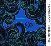 black waves on blue background  ... | Shutterstock .eps vector #1026402052
