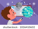 boy is playing in the phone.... | Shutterstock .eps vector #1026410632