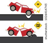 an image of a car hitting bump... | Shutterstock .eps vector #1026414745
