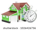 home with stopwatch concept  3d ... | Shutterstock . vector #1026426736