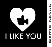 i like you text with thumb up.... | Shutterstock .eps vector #1026431212