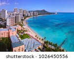 full view of waikiki beach | Shutterstock . vector #1026450556
