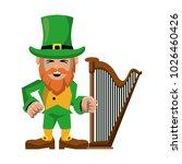 elf with musical harp   Shutterstock .eps vector #1026460426