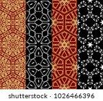 set of bright seamless pattern...   Shutterstock .eps vector #1026466396