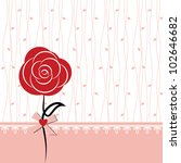 Card Design With Red Rose On...
