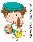 illustration of a cute artist | Shutterstock .eps vector #102650072