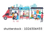 people selling and shopping at... | Shutterstock .eps vector #1026506455