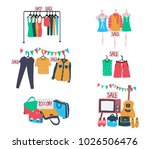 set of second hand clothes and... | Shutterstock .eps vector #1026506476