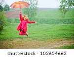Happy Jumping Girl Outdoor