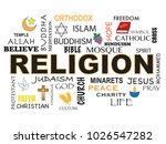 illustration of religion word... | Shutterstock . vector #1026547282