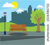 city park bench  vector... | Shutterstock .eps vector #1026586732