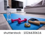 skipping rope with pink... | Shutterstock . vector #1026630616