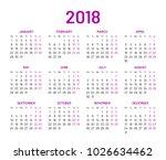 simple wall calendar 2018 year  ... | Shutterstock . vector #1026634462