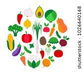 vegetable set in circle. vector ... | Shutterstock .eps vector #1026640168