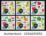 healthy juice detox smoothie... | Shutterstock .eps vector #1026654352