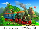 vector train in the mountains | Shutterstock .eps vector #1026665488