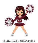 cheerleader in maroon and... | Shutterstock .eps vector #1026685045