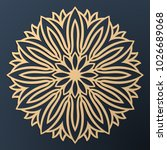 laser cutting mandala. golden... | Shutterstock .eps vector #1026689068