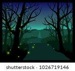 fireflies in the forest | Shutterstock . vector #1026719146