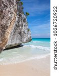 on the amazing beach in mayan... | Shutterstock . vector #1026720922