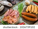 assorted smoked and cured spicy ... | Shutterstock . vector #1026739102