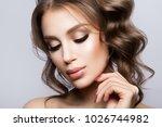 beauty woman face portrait.... | Shutterstock . vector #1026744982