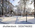 winter park with trees covered...   Shutterstock . vector #1026746302