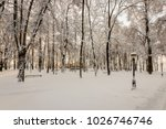 winter park with trees covered... | Shutterstock . vector #1026746746
