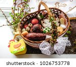 easter basket with dedicated... | Shutterstock . vector #1026753778