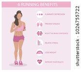 running black beautiful girl ... | Shutterstock .eps vector #1026755722