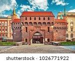 krakows barbican. medieval... | Shutterstock . vector #1026771922