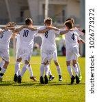happy soccer players. happy...   Shutterstock . vector #1026773272