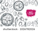 happy easter vintage frame.... | Shutterstock .eps vector #1026782026
