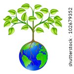 Conceptual illustration of a world globe tree - stock vector