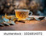 neem tea with leaves on a... | Shutterstock . vector #1026814372