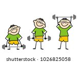 weight lifter  kid  funny male... | Shutterstock .eps vector #1026825058