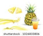 pineapple 3d realistic... | Shutterstock .eps vector #1026833806
