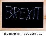 Blackboard with Brexit written on it - stock photo