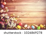 easter background with colorful ... | Shutterstock . vector #1026869278