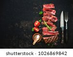 sliced medium rare grilled beef ... | Shutterstock . vector #1026869842