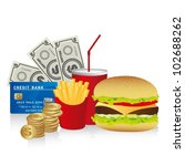 fast food combo with a burguer... | Shutterstock .eps vector #102688262