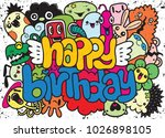 birthday party hand drawn... | Shutterstock .eps vector #1026898105