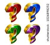 set of shiny golden question...