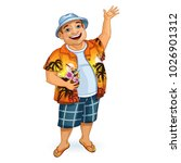 happy male tourist in a... | Shutterstock .eps vector #1026901312