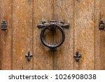 ancient wooden entrance door... | Shutterstock . vector #1026908038