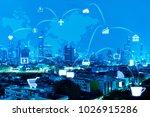 blue night modern city with... | Shutterstock . vector #1026915286