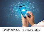 female hand using smartphone... | Shutterstock . vector #1026922312